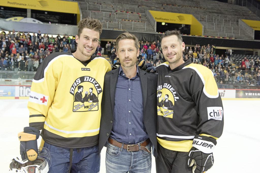 v. l: Roman Josi, Thomas Hofer (langjähriger SRK-Mitarbeiter und Mitbegründer «Das Duell») und Mark Streit.