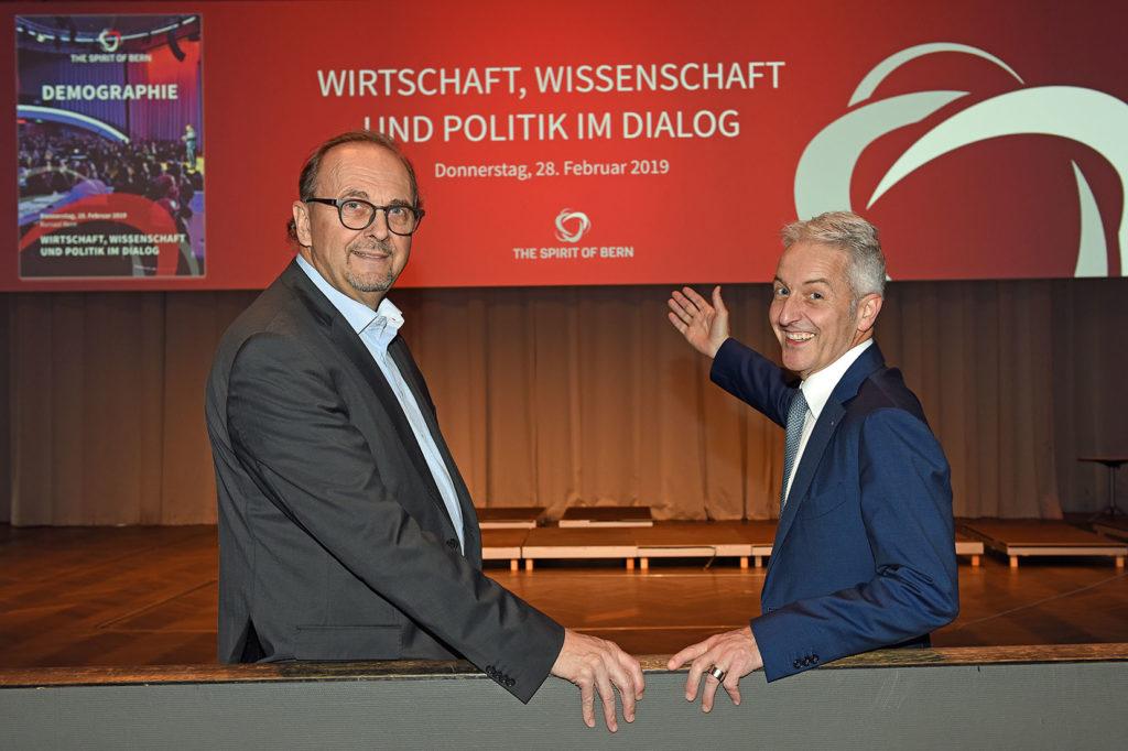 Daniel Buser (l.) und Andreas Reber auf der Bühne des Kursaals, wo am 28. Februar 2019 die vierte Ausgabe des Spirit of Bern stattfindet