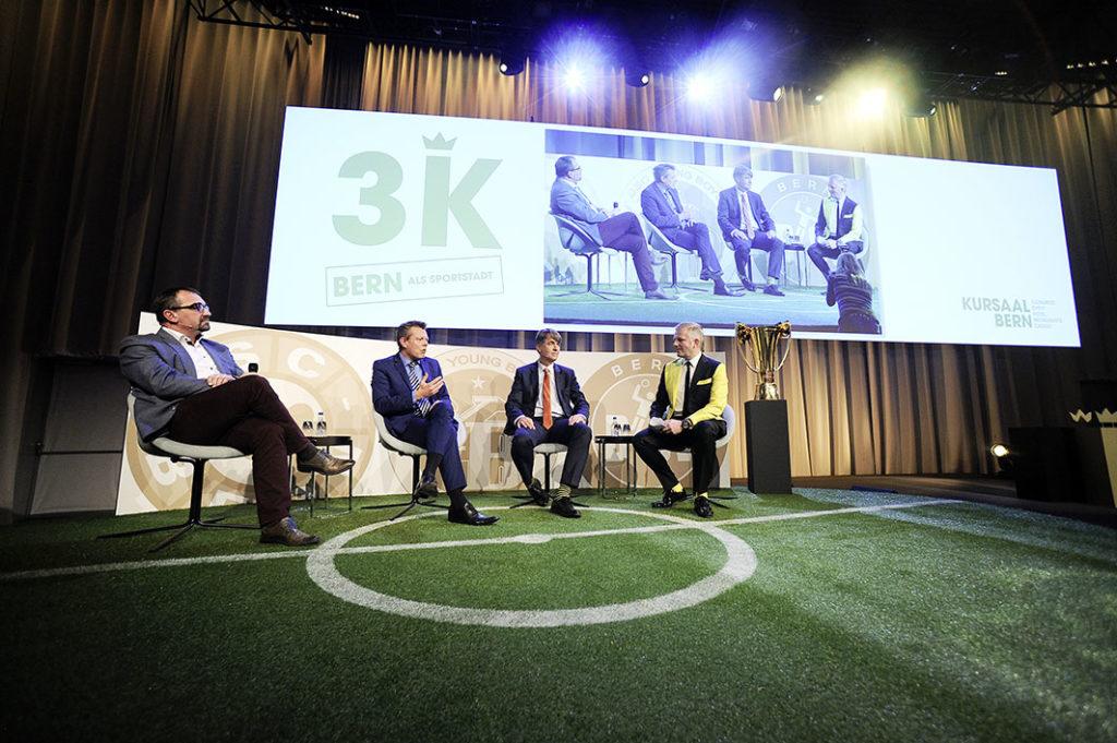 «Bern als Sportstadt»: Kurt Schär (Vizepräsident Bern Welcome), Reto Nause (Gemeinderat), Alec von Graffenried (Berner Stadtpräsident) und Moderator Rainer Maria Salzgeber (v.l.) diskutieren intensiv.